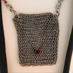 Vintage Real Leather Strap Metal Chain Coin Purse